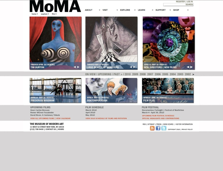MOMA landing page [home > explore > film]