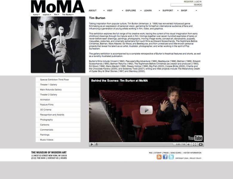 MOMA sub page [home > explore > film > tim burton]